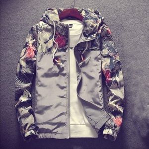 Other - MENS floral zip up hooded jacket